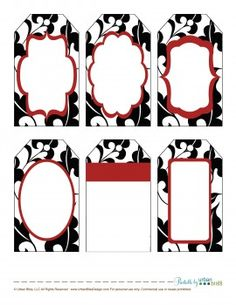12 Days of Printable Giveaways – Day 2: Black & Red Floral Gift Tags |