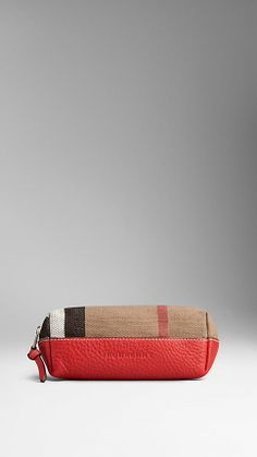 Canvas Check Leather Beauty Pouch