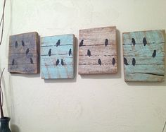 4 Piece Bird Set~ Custom Birds on a Wire Rustic Wall Decor- Reclaimed Barnwood Decor- Upcycled Country Wood Black Birds on a Line