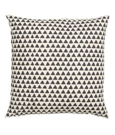 Natural white/charcoal gray. Cushion cover in cotton fabric with a printed pattern. Concealed zip.