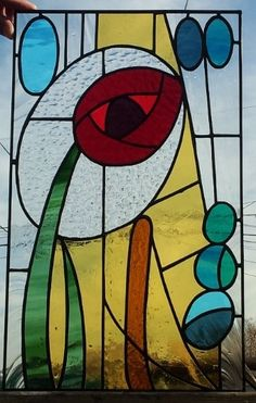 "Stained glass panel - ""Abstract Rose"""