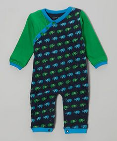Take a look at this Navy & Green Tiny Elephant Organic Playsuit - Infant by Tumblewalla on #zulily today!