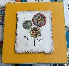 IMG_1320 | polymer/wood flowers | Bull's Eye Studio | Flickr Dandelion Drawing, Clay Wall Art, Wood Flowers, Clay Crafts, Whimsical, Polymer Clay, Mosaic, Floral Design, Pottery
