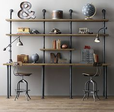 Creative diy pipe shelves design ideas Shoe Rack Another Great Place Where Shelves Are Particularly Useful Is The Home Office Nice Idea Is To Build Shelving Unit To Also Incorporate The Desk Or Work Deavitanet Industrial Pipe Shelving True Form Builders Industrial Home Offices, Industrial Home Design, Industrial Pipe Shelves, Vintage Industrial Furniture, Industrial House, Pipe Shelving, Industrial Style, Industrial Bedroom, Shelving Ideas