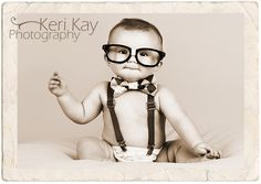 only three props needed to create this adorable photo...suspenders, bow tie and taped glasses without lenses