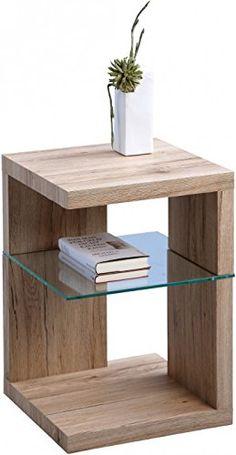 HomeTrends4You 516063 Tavolino/comodino in rovere, 40 x 60 x 40 cm, decoro Sanremo, colore sabbia