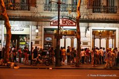 Café Tortoni. People line up to get in.