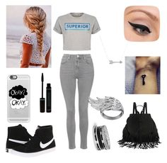 """""""Black goes with everything"""" by laryssamache on Polyvore featuring Topshop, Être Cécile, Casetify, NIKE, LORAC, AS29, GUESS and Adina Reyter"""