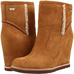 UGG Jade (Chestnut Suede) Women's Pull-on Boots ($96) ❤ liked on Polyvore featuring shoes, boots, ankle booties, ankle boots, brown, suede wedge bootie, brown suede booties, wedge booties and wedge boots