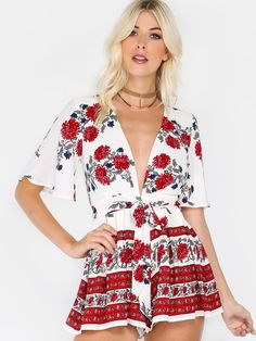 Shop Plunge Flutter Sleeve Floral Romper RED online. SheIn offers Plunge Flutter Sleeve Floral Romper RED & more to fit your fashionable needs.