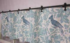 window valance, window curtains, valence, kitchen valance, bird valance, bird curtains.