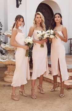 Let's meet in the midi. For satin cowl neck midi dresses, shop ASTR The Label! Beach Bridesmaid Dresses, Dream Wedding Dresses, Beach Wedding Bridesmaids, Bridesmade Dresses, Pink Bridesmaids, Different Bridesmaid Dresses, Bridesmaid Ideas, 3 Bridesmaids Pictures, Bohemian Bridesmaid