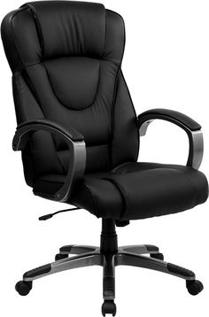 High Back Black Leather Executive Office Chair - Flash Furniture plush leather chair has a very appealing look to show off your modern taste in computer seating. With its eye-catching titanium nylon base and loop arms it is sure to pleas Adjustable Office Chair, Swivel Office Chair, Ergonomic Office Chair, High Back Office Chair, Black Office Chair, Bonded Leather, Black Leather, Soft Leather, Contemporary Office Chairs