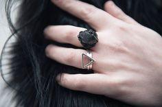 Elemental Luxury Tibetan Black Phantom Quartz & Tourmaline Crystal Ring with Bloody Mary Metal silver Fire Alchemy & Personalised Stack rings.