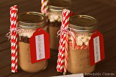 Hot Cocoa in a Jar - put our Ball jars to use with this super simple and super adorable gifting idea.  via http://domesticcharm.blogspot.com