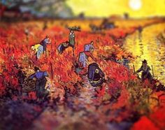 The Red Vineyard, Van Gogh, 1888 Serena Malyon, a 3rd year art student, collected some of Van Gogh's most beautiful paintings and altered them in Photoshop to achieve this amazing tilt-shift effect.