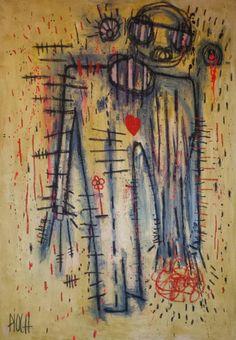 Comme un poilu (Peinture), 115x85 cm par Olivier PIOCH Acrylique sur toile et pastel a l'huile sur toile tendu.