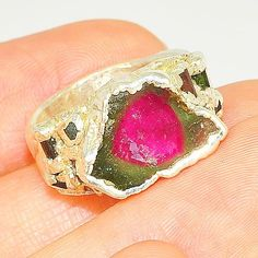 .999 Fine Silver Watermelon Tourmaline Ring (Size 6.5)