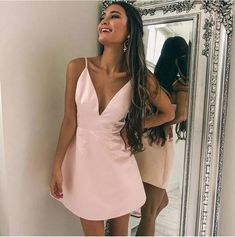 Simple V neck Pink Short Party Dress Mini Cocktail Dress T1328 by sweetdressy, $89.10 USD Dressy Dresses, Simple Dresses, Short Dresses, Embellished Gown, Terani Couture, Wattpad, Designer Evening Dresses, Lady, Homecoming Dresses