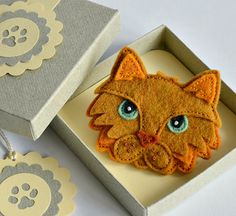 Felt Cat Brooch / Pin  Hand Stitched Ginger by CreaturesInStitches