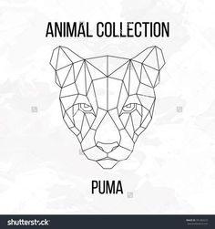 Geometric animal puma head line silhouette isolated on white background vintage design element vector illustration