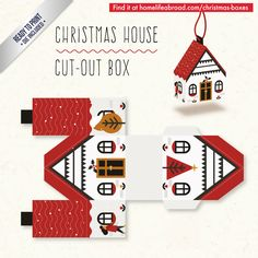Christmas House Cut-Out Box - with ready to print templates! Check out all the boxes & download at @homelifeabroad.com #christmasgifts #christmasboxes #christmastemplates #christmasprintables #xmas #DIY #boxes #christmasDIY #christmascrafts