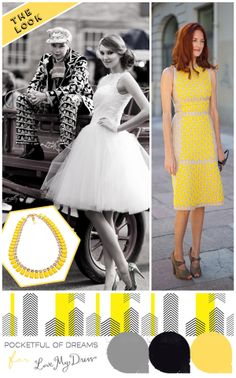Yellow, White & Black Wedding & Events Mood Board. Inspiration BY event design house Pocketful of Dreams. Bridal look