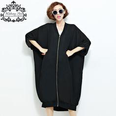 Summer Chiffon Coats Woman Long Cardigan Plus Size Solid Casual V-Neck Fashion Big Size Lady Black Zipper Outerwear Open Stitch