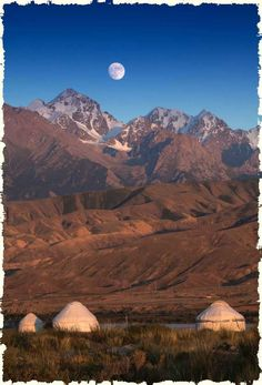Kazakh yurts or gers on the mongolian steppe with a full moon behind Mongolia, What Is A Yurt, Places Around The World, Around The Worlds, Beautiful World, Beautiful Places, Such Und Find, Landscape Photography, Scenic Photography