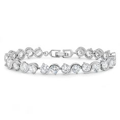 Imported Gift Depot Fine Italian Crystal 7 Inchb 8.5 mm Women Silver Plated with Lobster Clasp