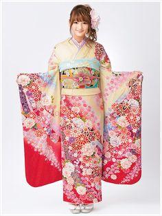 Yellow kimono with flowers Yukata Kimono, Kimono Japan, Japanese Kimono, Japanese Style, Japanese Wrapping, Kimono Style, Kimono Fashion, Geisha, Dress Codes