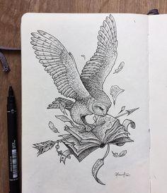 Harry Potter Drawings, Harry Potter Tattoos, Time Tattoos, Body Art Tattoos, Animal Drawings, Cool Drawings, Lechuza Tattoo, Ink Illustrations, Illustration Art