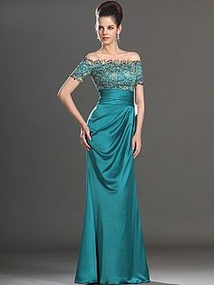 Off the Shoulder Lace Bodice Long Satin Evening Dress - USD $139.99