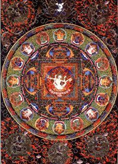 Vam seed sylable dharma et dakinis t Art Tibetan Mandala, Tibetan Art, Thangka Painting, Mandala Painting, Green Tara Mantra, Complex Art, Vajrayana Buddhism, Wheel Of Life, Buddhism