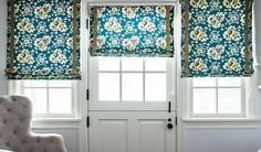 Dream of beautiful windows with the help of our Inspiration and Idea Gallery! Custom Drapes, Decor, Inspiration, Bold Bedroom, Blue Decor, Bay Window Treatments, Fabric Shades, Home Decor, Blue Window Treatments