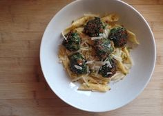 Super easy Carluccio's spinach balls with courgette and chilli penne.