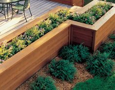 Love this idea to lanscape around deck and add different heights and interest.Grow herbs for easy access for cooking mixed with flowers.NICE1