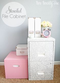 Tired of dull file cabinets? Spruce them up with stencils and paint!