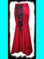 Long Red Fishtail Gothic Corset Skirt
