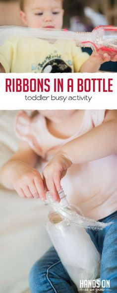 Ribbons in a bottle! So simple and great busy play idea for toddlers to do