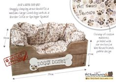 Cama del perro de madera hechos a mano GRANDE por SallyGristArtwork