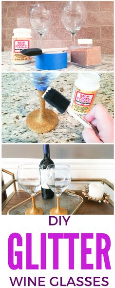 These DIY glitter wine glasses are so easy to make and a perfect gift for any occasion...or for yourself! Get the tutorial at The Tricia Collective!