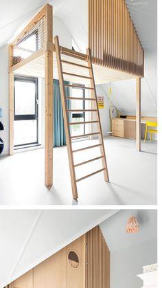 Boys Bedroom Colors, Kids Bedroom Designs, Kids Room Design, Loft Design, Tiny House Design, Build A Loft Bed, White Floorboards, Loft Room, Tiny Apartments