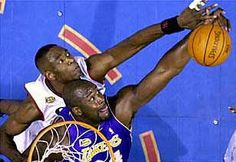Shaquille O'neal is blocked by Dikembe Mutombo Nba Blocks, Dikembe Mutombo, South California, Shaquille O'neal, Slam Dunk, Los Angeles Lakers, Nba Basketball, Philadelphia, Nfl