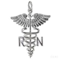 Sterling Silver Registered Nurse Caduceus Medical Symbol Charm. #jewelry