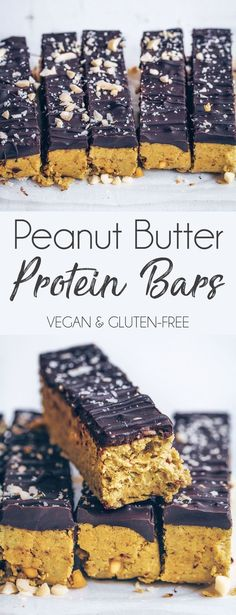 Peanut Butter Protein Bars I love having protein bars at home to snack on, but the shop bought ones tend to be really expensive (especially the plant-based ones) and not very easy to find! I… snacks, Peanut Butter Protein Bars Vegan Protein Snacks, Peanut Butter Protein Bars, Healthy Protein Snacks, Protein Bar Recipes, Protein Desserts, Protein Cake, Protein Powder Recipes, Snack Recipes, Diy Protein Bars