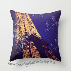 Pillow Cover travel photography Eiffel Tower night Paris France blue gold lilacs sky street photography lights gift pillow case