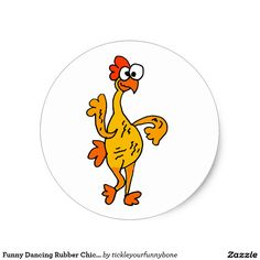 Funny Dancing Rubber Chicken Classic Round Sticker