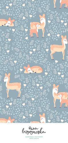 Floral Deer - delicate pattern design for girls - greyish background. Nursery Patterns, Nursery Prints, Nursery Art, Print Patterns, Girl Nursery, Nursery Decor, Room Decor, Deer Illustration, Pattern Illustration