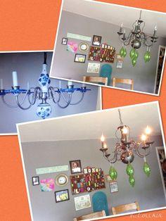 $6 chandelier Upcycle. I change the stuff I hang on it monthly.